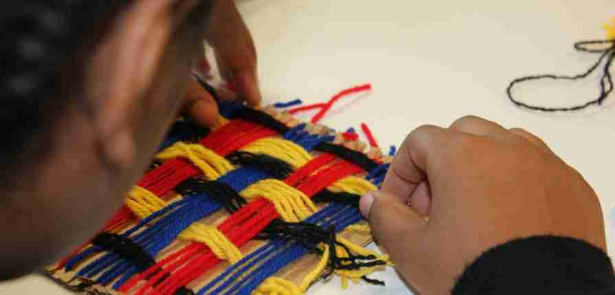 hand weaving textiles lesson